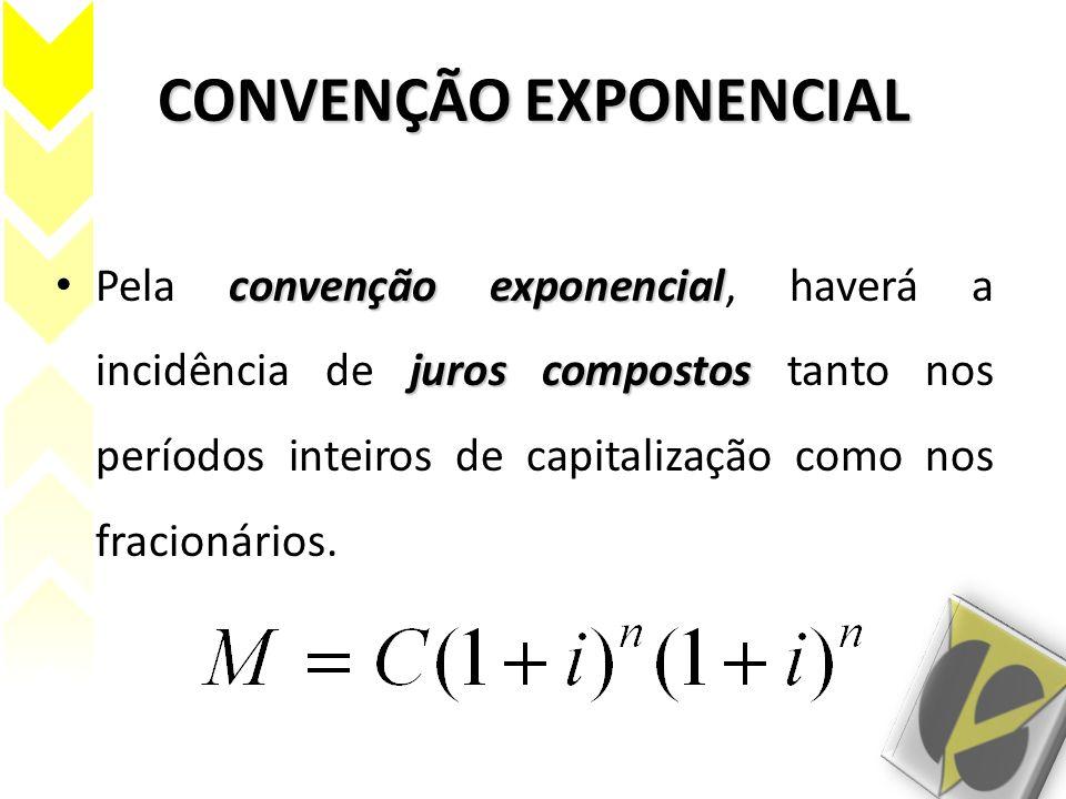 CONVENÇÃO EXPONENCIAL convenção exponencial juros compostos Pela convenção exponencial, haverá a incidência de juros compostos tanto nos períodos inte