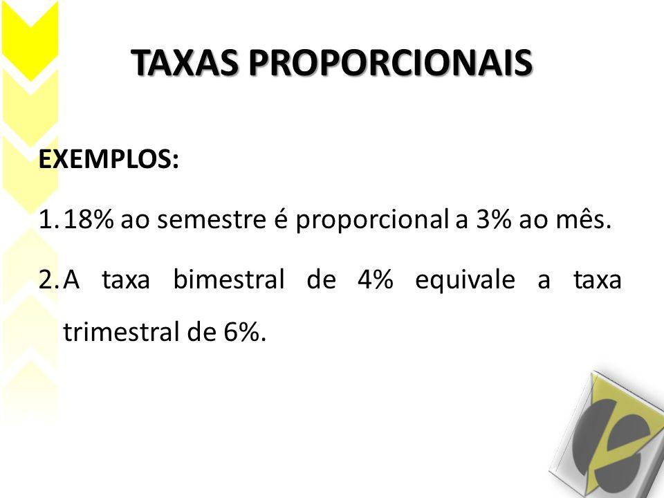 TAXAS PROPORCIONAIS EXEMPLOS: 1.18% ao semestre é proporcional a 3% ao mês. 2.A taxa bimestral de 4% equivale a taxa trimestral de 6%.
