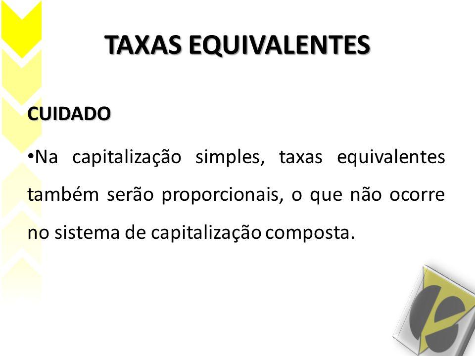 TAXAS EQUIVALENTES CUIDADO Na capitalização simples, taxas equivalentes também serão proporcionais, o que não ocorre no sistema de capitalização compo