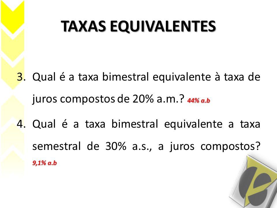 TAXAS EQUIVALENTES 44% a.b 3.Qual é a taxa bimestral equivalente à taxa de juros compostos de 20% a.m.? 44% a.b 9,1% a.b 4.Qual é a taxa bimestral equ