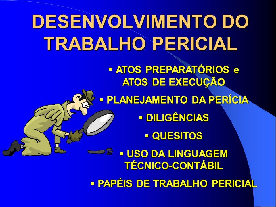 PAPÉIS DE TRABALHO O PERITO DEVE REGISTRAR, EM PAPÉIS DE TRABALHO, TODAS AS OCORRÊNCIAS QUE DERAM SUPORTE À SUA CONCLUSÃO, DOCUMENTANDO OS FATOS RELEVANTES.
