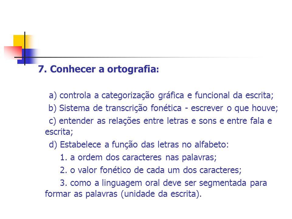 7. Conhecer a ortografia : a) controla a categorização gráfica e funcional da escrita; b) Sistema de transcrição fonética - escrever o que houve; c) e