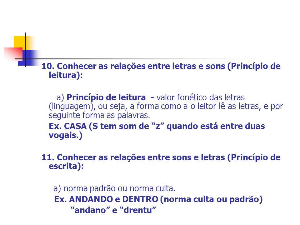 10. Conhecer as relações entre letras e sons (Princípio de leitura): a) Princípio de leitura - valor fonético das letras (linguagem), ou seja, a forma