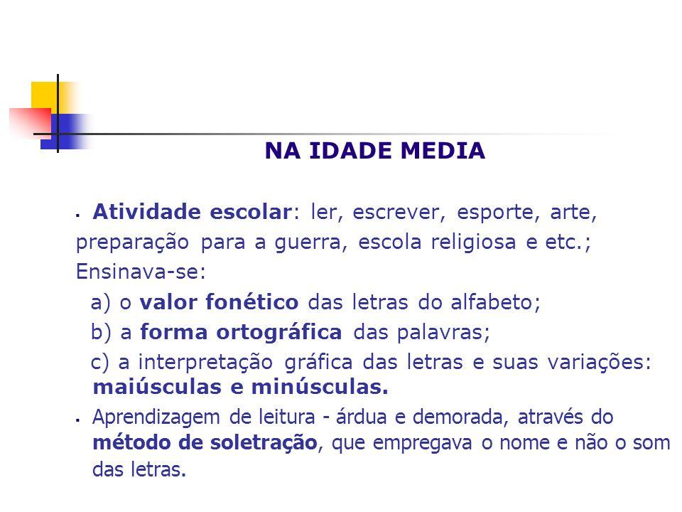NA IDADE MEDIA Atividade escolar: ler, escrever, esporte, arte, preparação para a guerra, escola religiosa e etc.; Ensinava-se: a) o valor fonético da