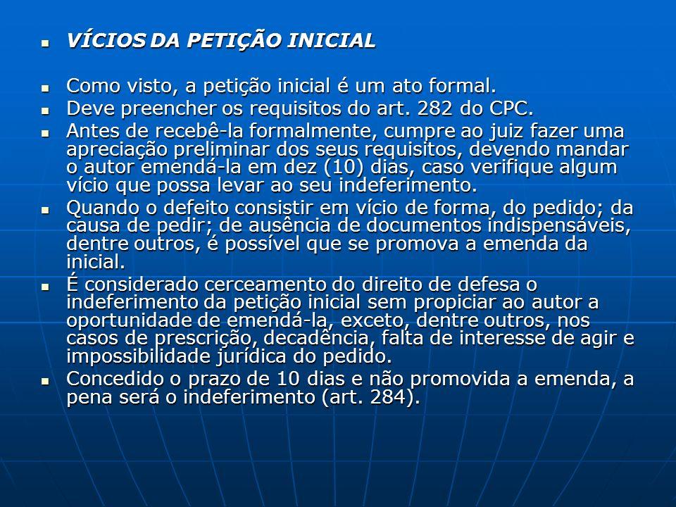VÍCIOS DA PETIÇÃO INICIAL VÍCIOS DA PETIÇÃO INICIAL Como visto, a petição inicial é um ato formal. Como visto, a petição inicial é um ato formal. Deve