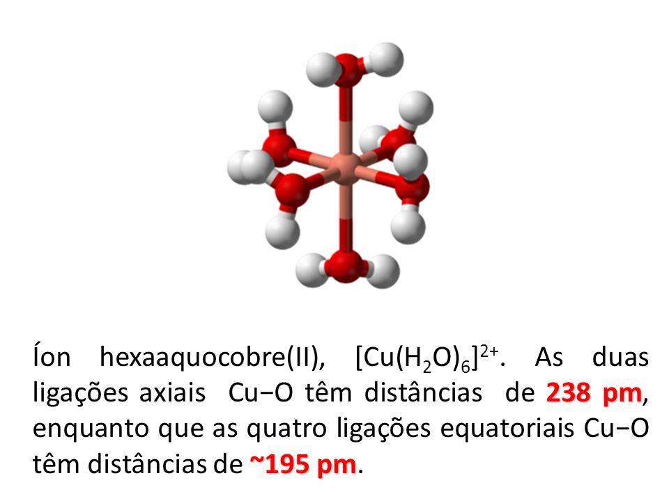 238 pm ~195 pm Íon hexaaquocobre(II), [Cu(H 2 O) 6 ] 2+. As duas ligações axiais CuO têm distâncias de 238 pm, enquanto que as quatro ligações equator