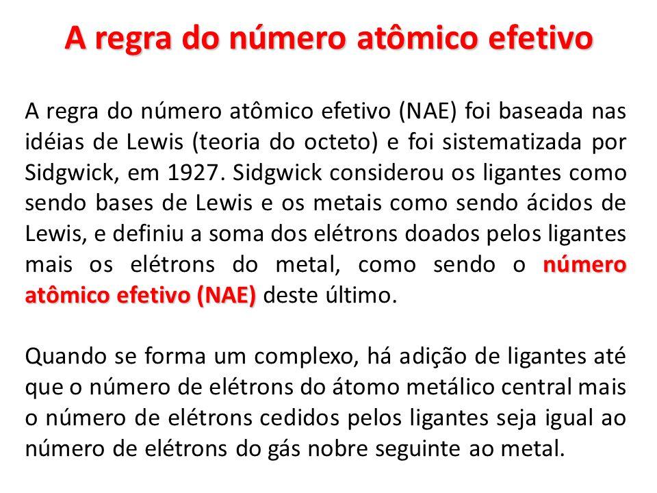 EXEMPLO 1 exceções Embora a regra do NAE possa prever corretamente o número de ligantes de um grande número de complexos, há um número considerável de exceções, nas quais o NAE não é igual ao número de elétrons de um gás nobre.