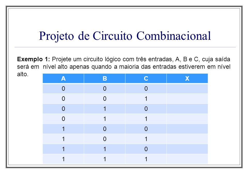 Projeto de Circuito Combinacional Exemplo 1: Projete um circuito lógico com três entradas, A, B e C, cuja saída será em nível alto apenas quando a mai