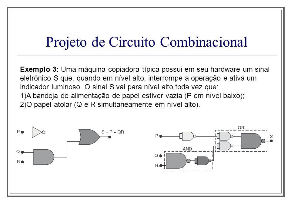 Projeto de Circuito Combinacional Exemplo 3: Uma máquina copiadora típica possui em seu hardware um sinal eletrônico S que, quando em nível alto, inte