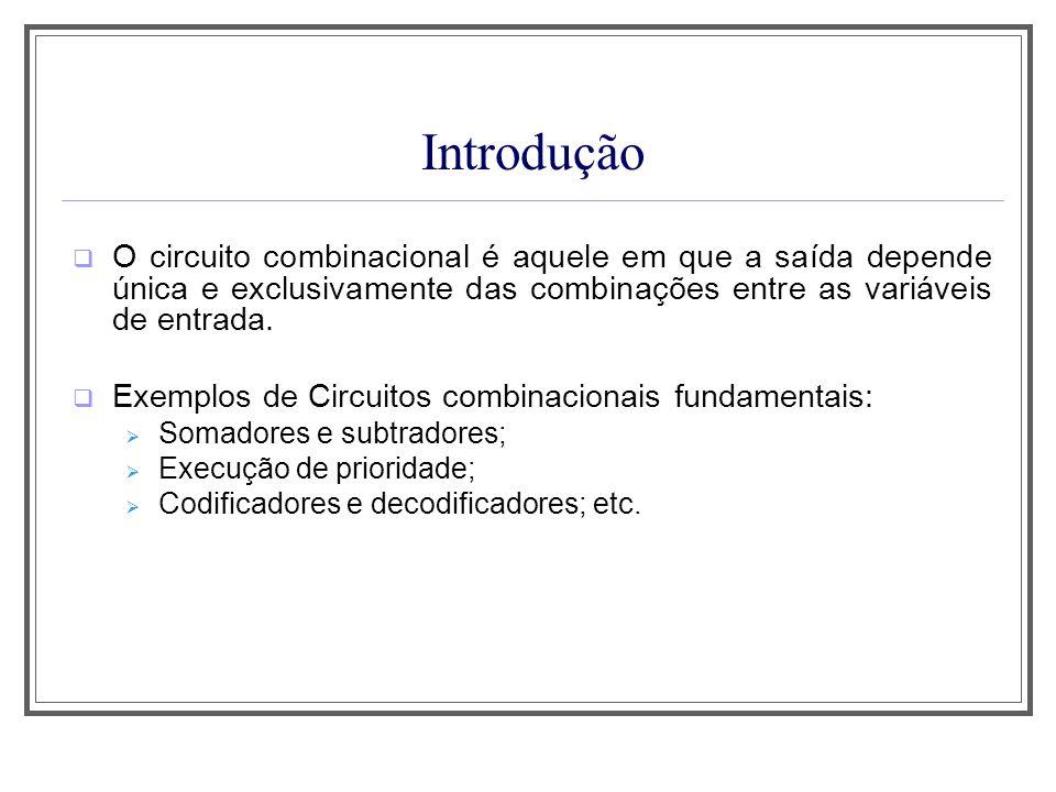 Introdução O circuito combinacional é aquele em que a saída depende única e exclusivamente das combinações entre as variáveis de entrada. Exemplos de