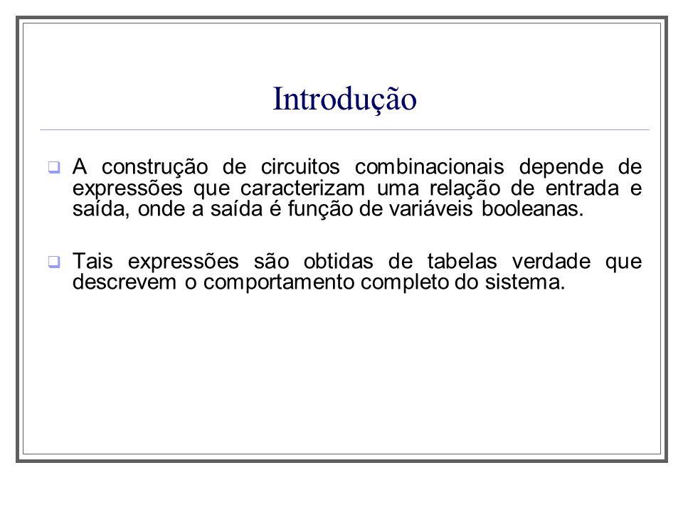 Introdução A construção de circuitos combinacionais depende de expressões que caracterizam uma relação de entrada e saída, onde a saída é função de va