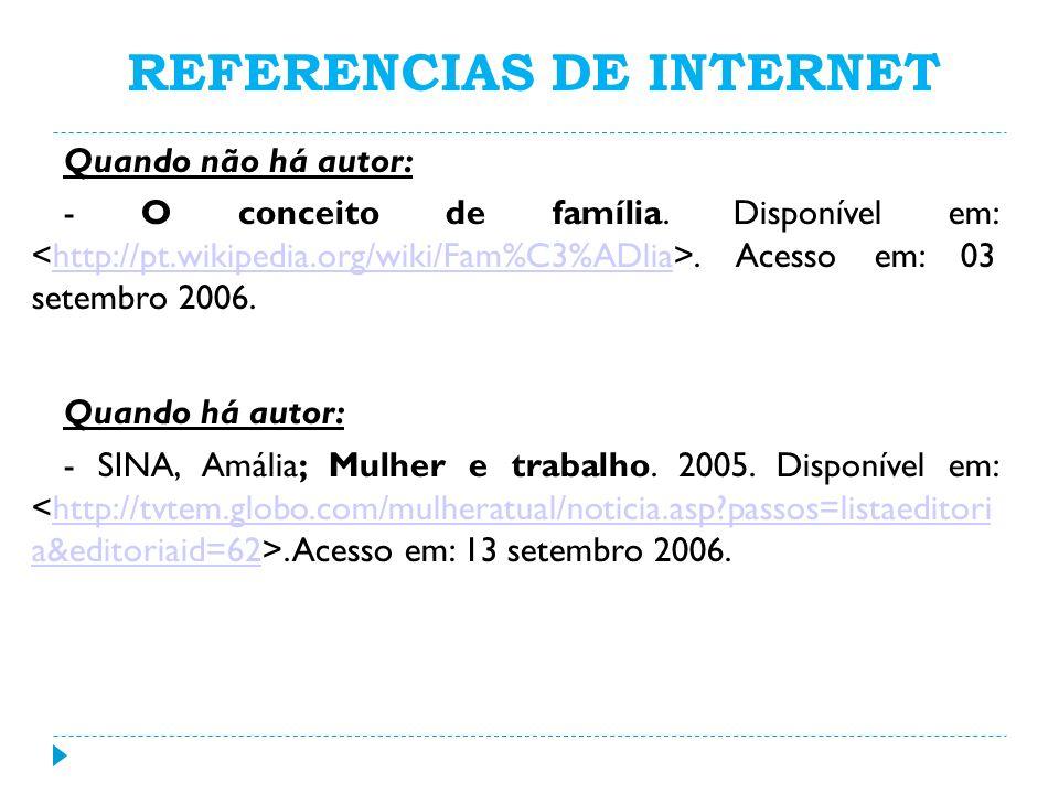 REFERENCIAS DE INTERNET Quando não há autor: - O conceito de família. Disponível em:. Acesso em: 03 setembro 2006.http://pt.wikipedia.org/wiki/Fam%C3%