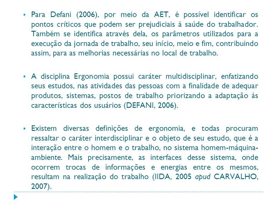 Para Defani (2006), por meio da AET, é possível identificar os pontos críticos que podem ser prejudiciais à saúde do trabalhador. Também se identifica