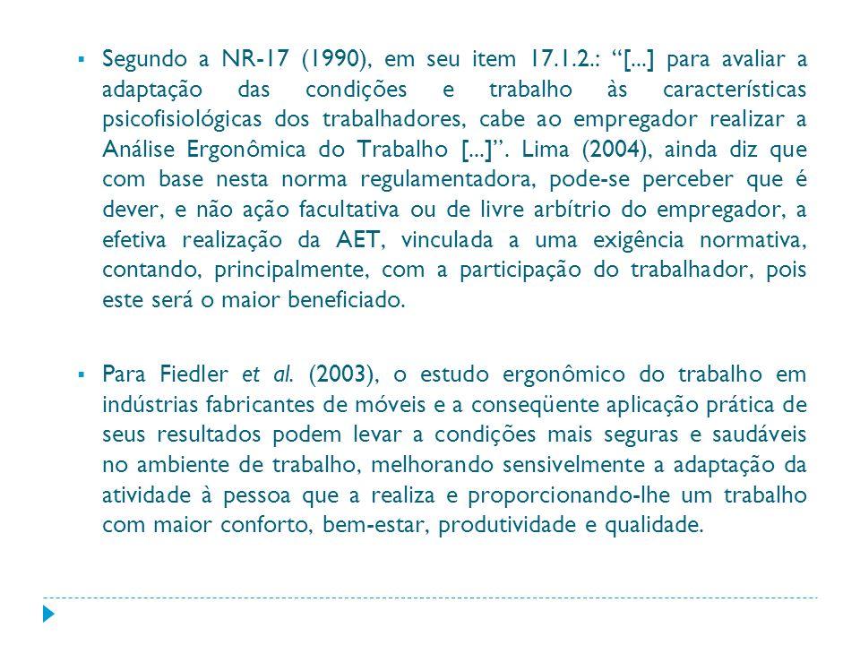 Segundo a NR-17 (1990), em seu item 17.1.2.: [...] para avaliar a adaptação das condições e trabalho às características psicofisiológicas dos trabalha