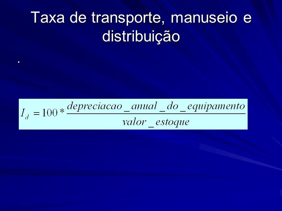 Taxa de transporte, manuseio e distribuição.