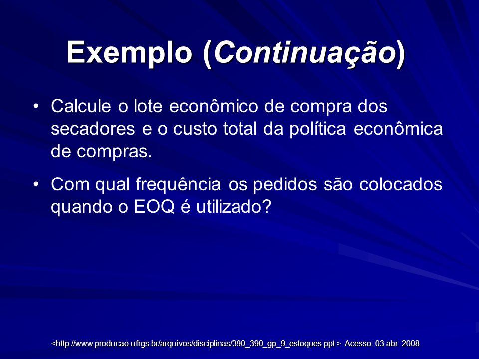 Exemplo (Continuação) Calcule o lote econômico de compra dos secadores e o custo total da política econômica de compras. Com qual frequência os pedido