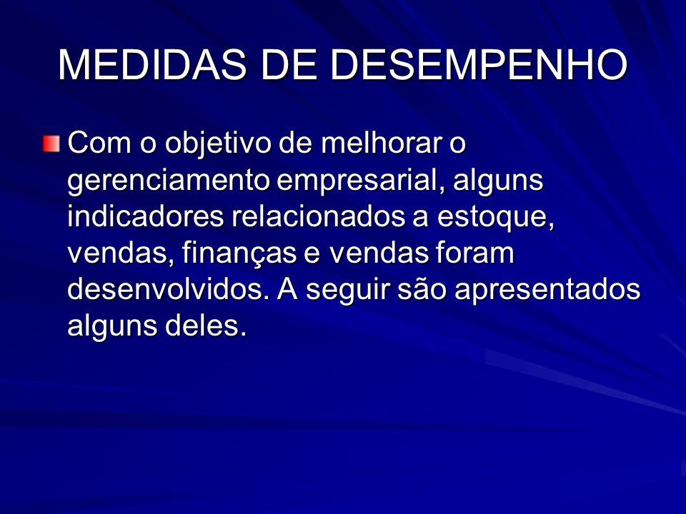 MEDIDAS DE DESEMPENHO Com o objetivo de melhorar o gerenciamento empresarial, alguns indicadores relacionados a estoque, vendas, finanças e vendas for