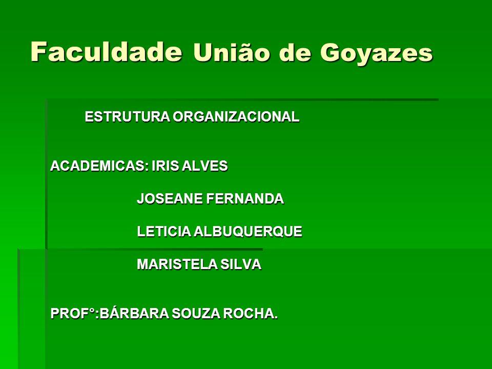 Faculdade União de Goyazes ESTRUTURA ORGANIZACIONAL ESTRUTURA ORGANIZACIONAL ACADEMICAS: IRIS ALVES JOSEANE FERNANDA JOSEANE FERNANDA LETICIA ALBUQUER