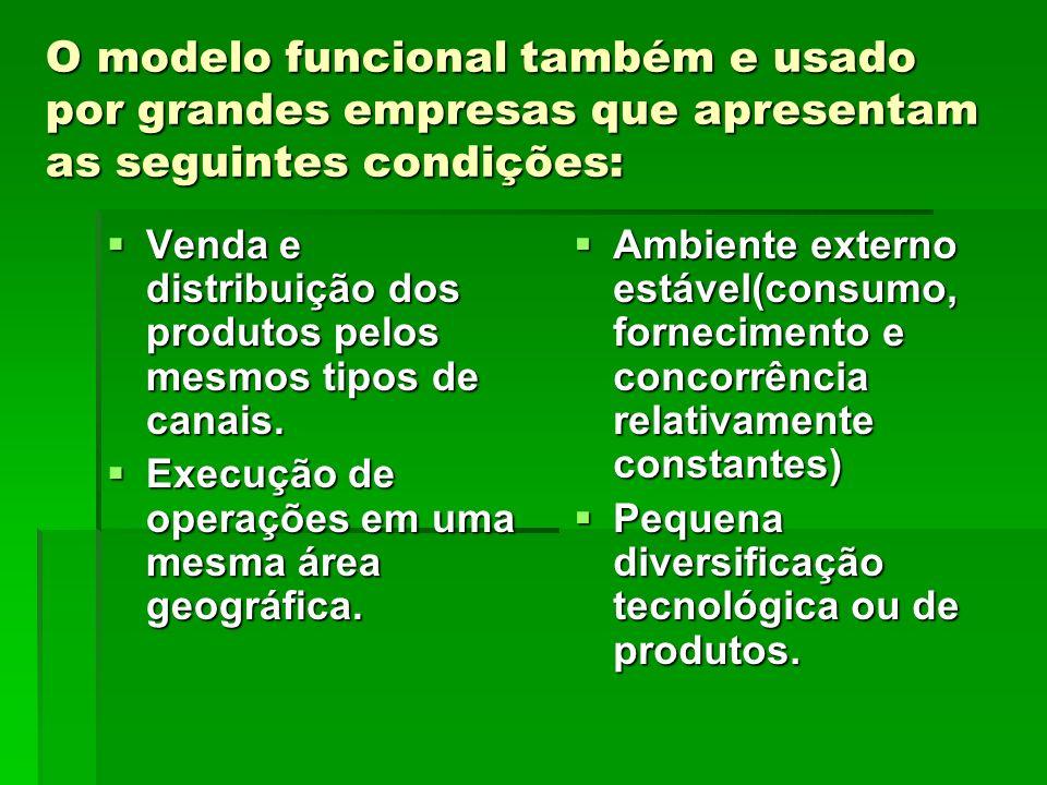 O modelo funcional também e usado por grandes empresas que apresentam as seguintes condições: Venda e distribuição dos produtos pelos mesmos tipos de
