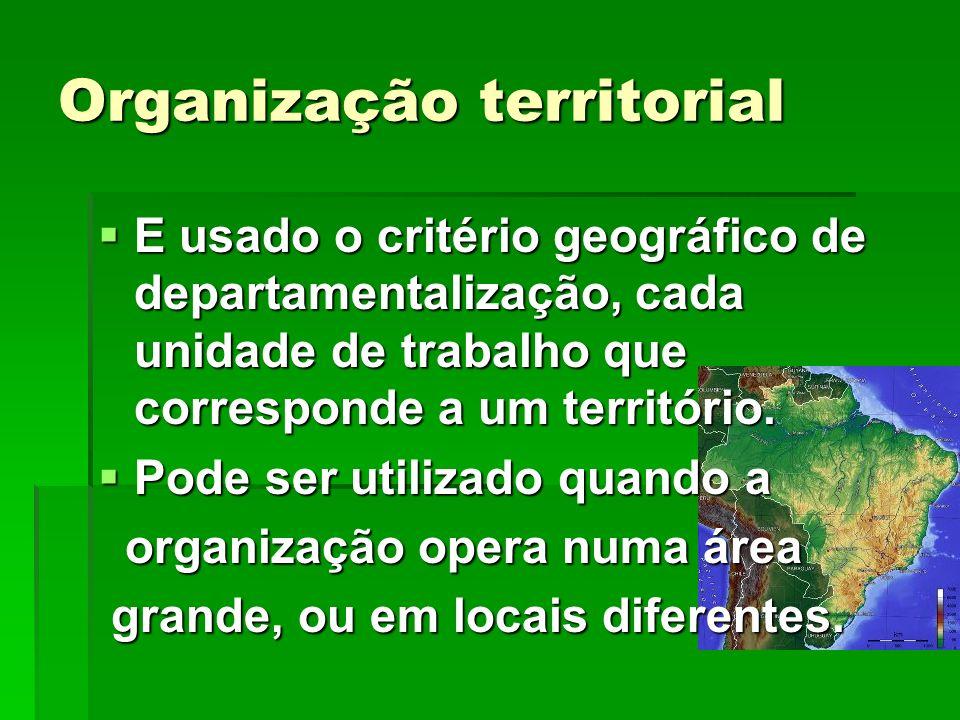 Organização territorial E usado o critério geográfico de departamentalização, cada unidade de trabalho que corresponde a um território. E usado o crit