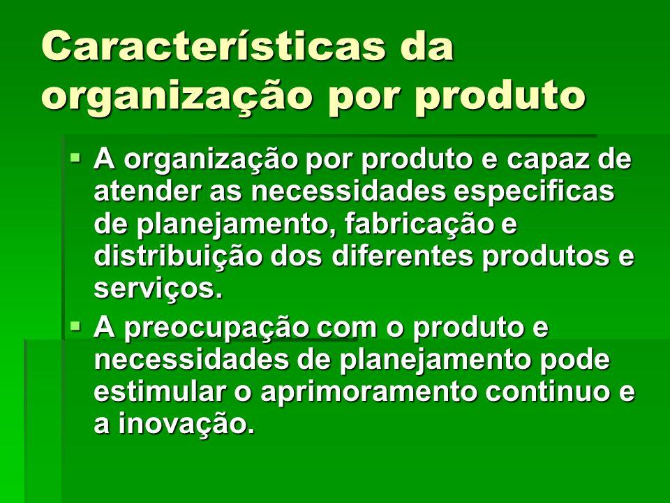 Características da organização por produto A organização por produto e capaz de atender as necessidades especificas de planejamento, fabricação e dist