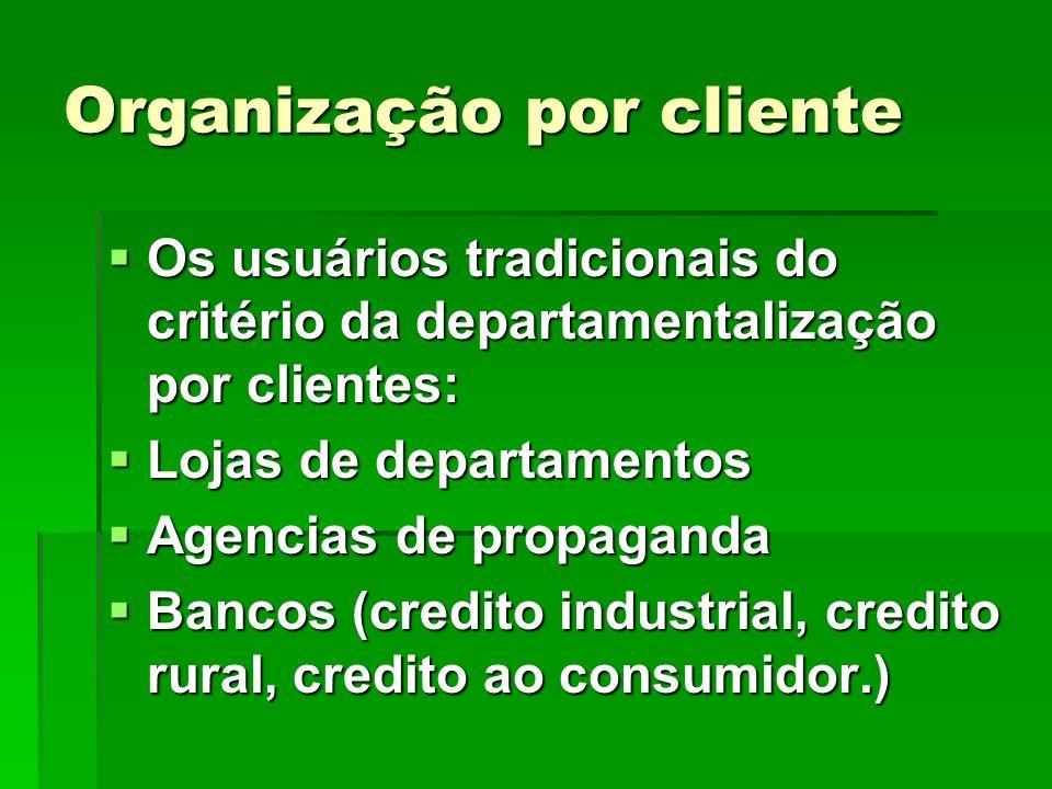 Organização por cliente Os usuários tradicionais do critério da departamentalização por clientes: Os usuários tradicionais do critério da departamenta