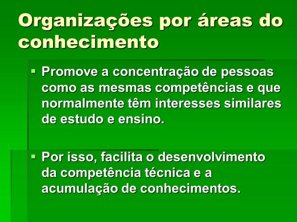 Organizações por áreas do conhecimento Promove a concentração de pessoas como as mesmas competências e que normalmente têm interesses similares de est