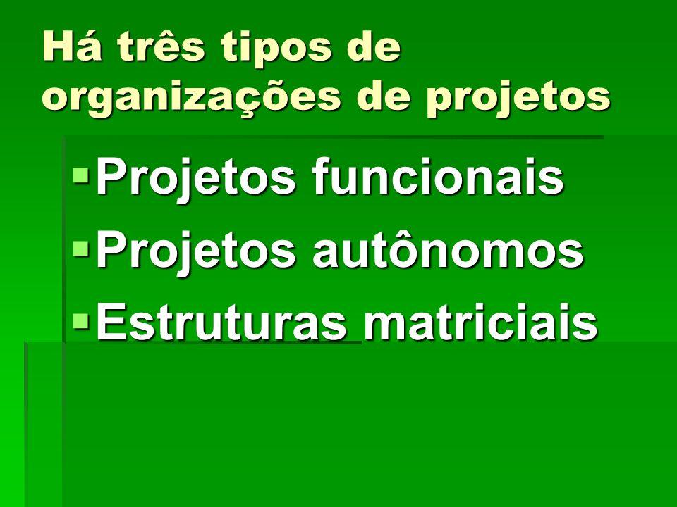 Há três tipos de organizações de projetos Projetos funcionais Projetos funcionais Projetos autônomos Projetos autônomos Estruturas matriciais Estrutur