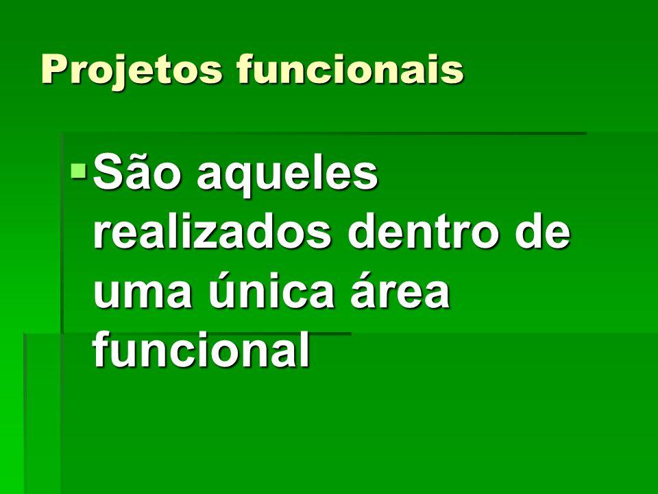Projetos funcionais São aqueles realizados dentro de uma única área funcional São aqueles realizados dentro de uma única área funcional