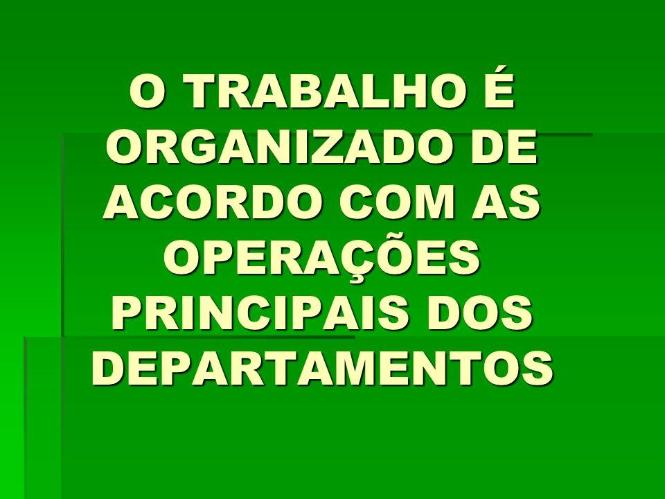 O TRABALHO É ORGANIZADO DE ACORDO COM AS OPERAÇÕES PRINCIPAIS DOS DEPARTAMENTOS