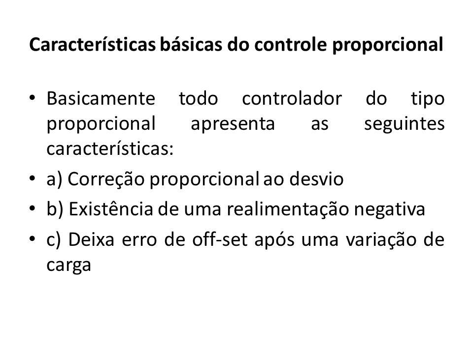 Características básicas do controle proporcional Basicamente todo controlador do tipo proporcional apresenta as seguintes características: a) Correção