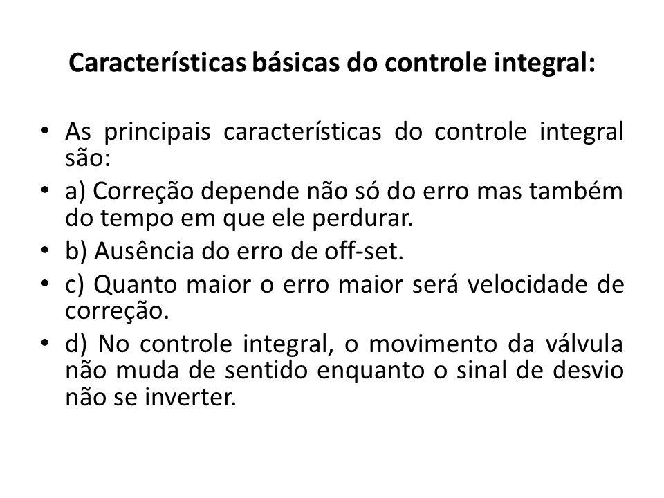 Características básicas do controle integral: As principais características do controle integral são: a) Correção depende não só do erro mas também do