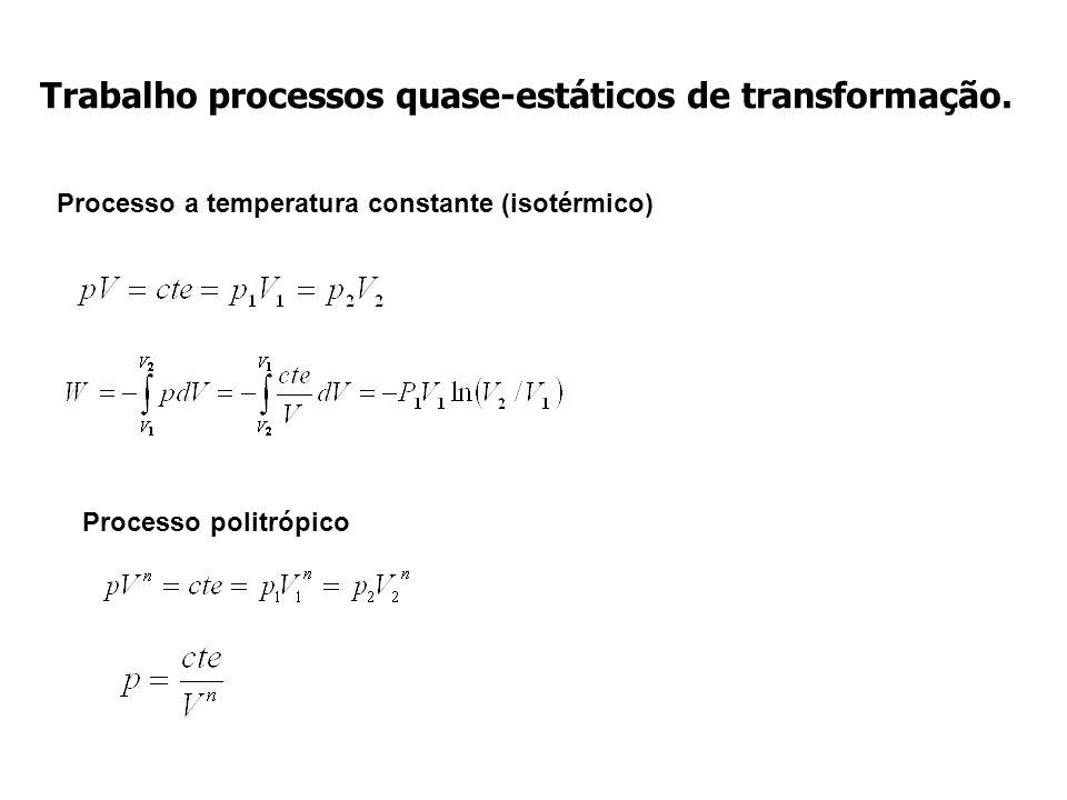 Trabalho processos quase-estáticos de transformação. Processo a temperatura constante (isotérmico) Processo politrópico