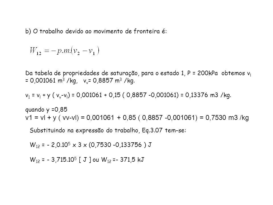 b) O trabalho devido ao movimento de fronteira é: Da tabela de propriedades de saturação, para o estado 1, P = 200kPa obtemos v l = 0,001061 m 3 /kg,