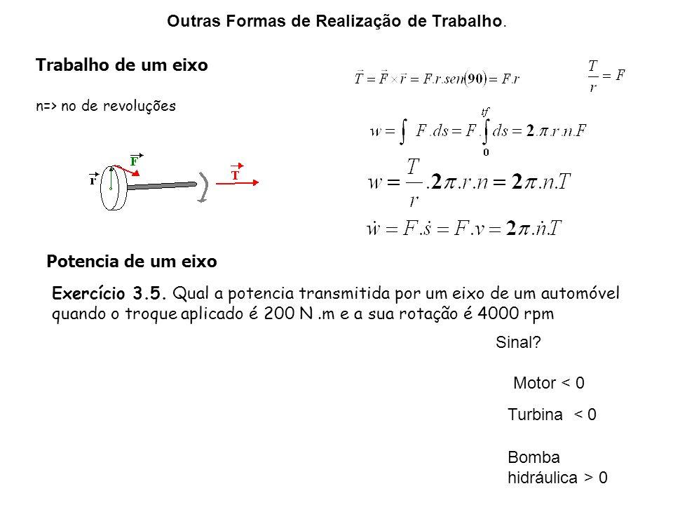 Outras Formas de Realização de Trabalho. Trabalho de um eixo n=> no de revoluções Potencia de um eixo Exercício 3.5. Qual a potencia transmitida por u