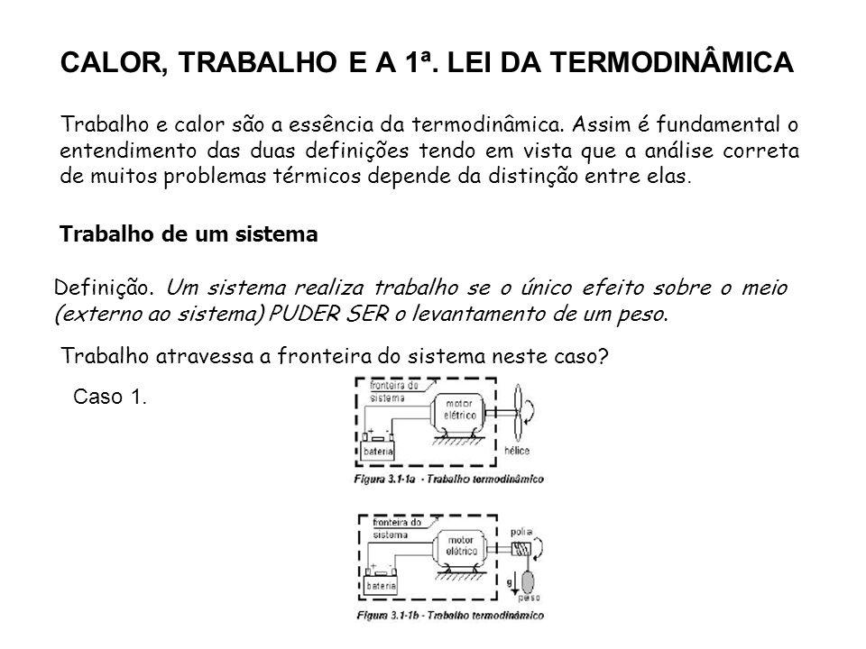 CALOR, TRABALHO E A 1ª. LEI DA TERMODINÂMICA Trabalho e calor são a essência da termodinâmica. Assim é fundamental o entendimento das duas definições