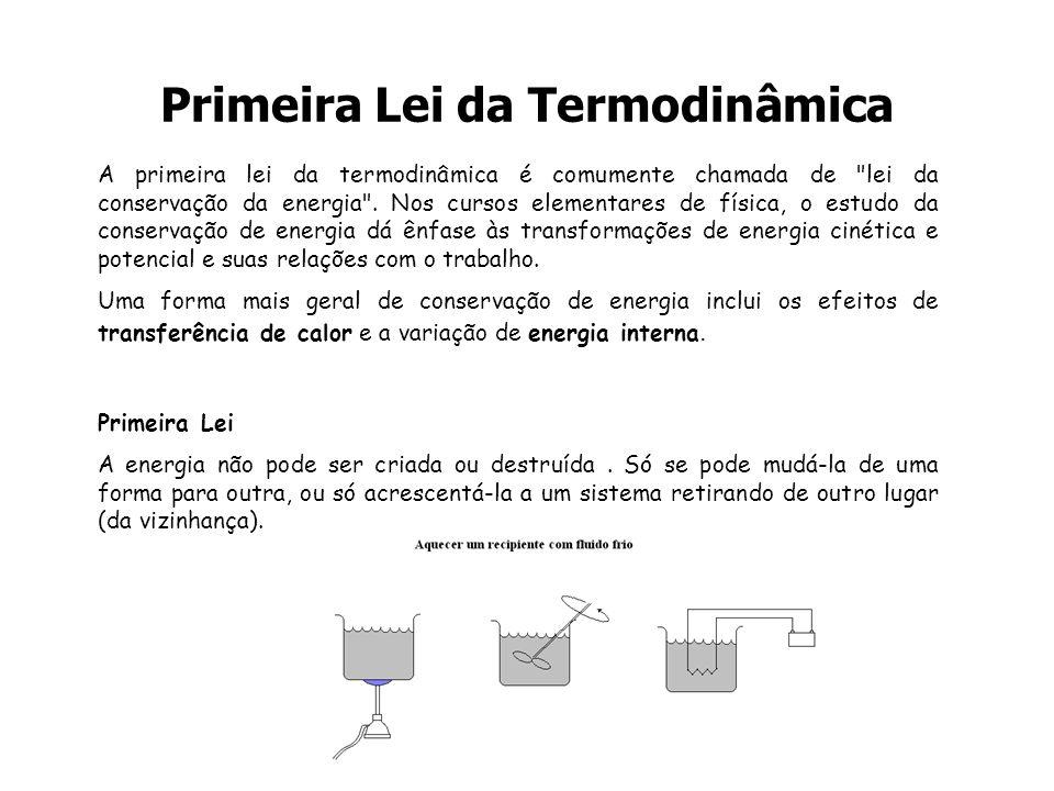 Primeira Lei da Termodinâmica A primeira lei da termodinâmica é comumente chamada de