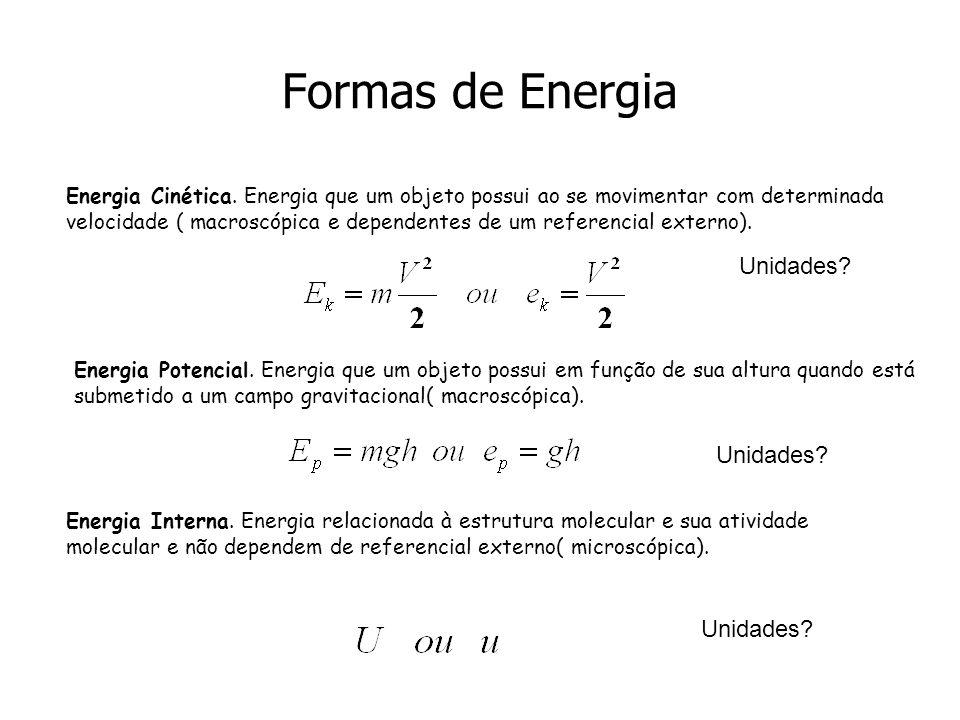 Formas de Energia Energia Cinética. Energia que um objeto possui ao se movimentar com determinada velocidade ( macroscópica e dependentes de um refere