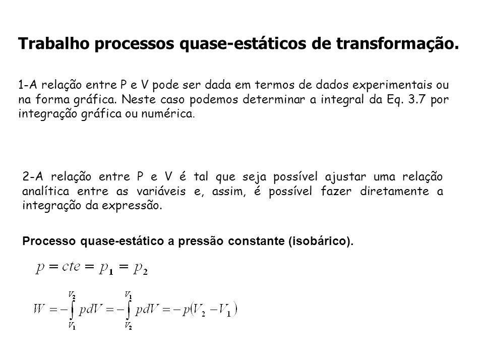 Trabalho processos quase-estáticos de transformação. 1-A relação entre P e V pode ser dada em termos de dados experimentais ou na forma gráfica. Neste