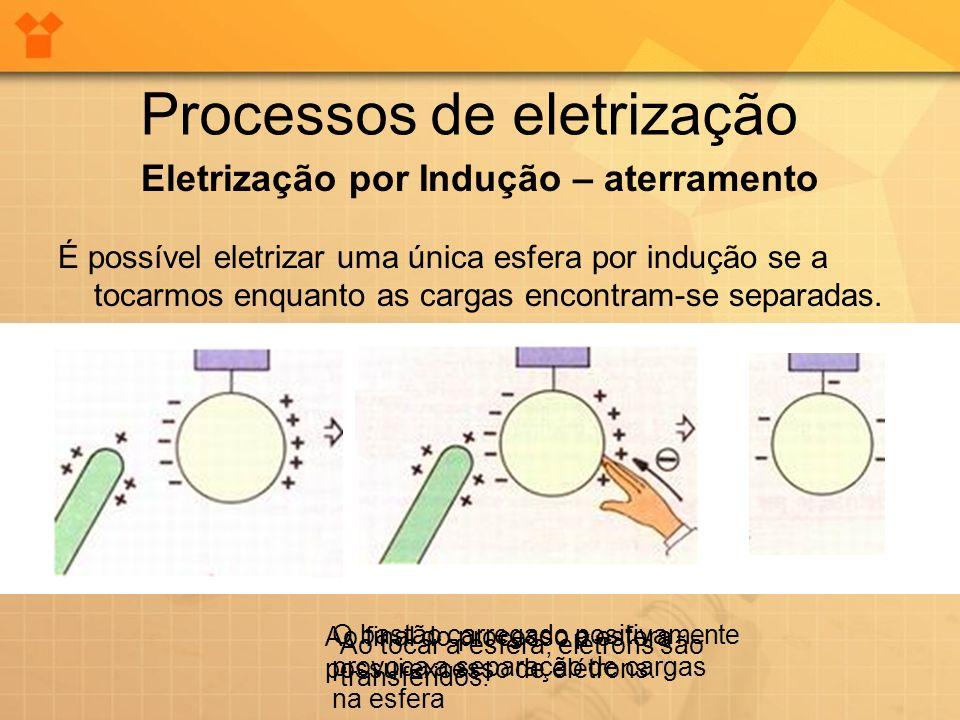 Processos de eletrização Eletrização por Indução – aterramento É possível eletrizar uma única esfera por indução se a tocarmos enquanto as cargas enco