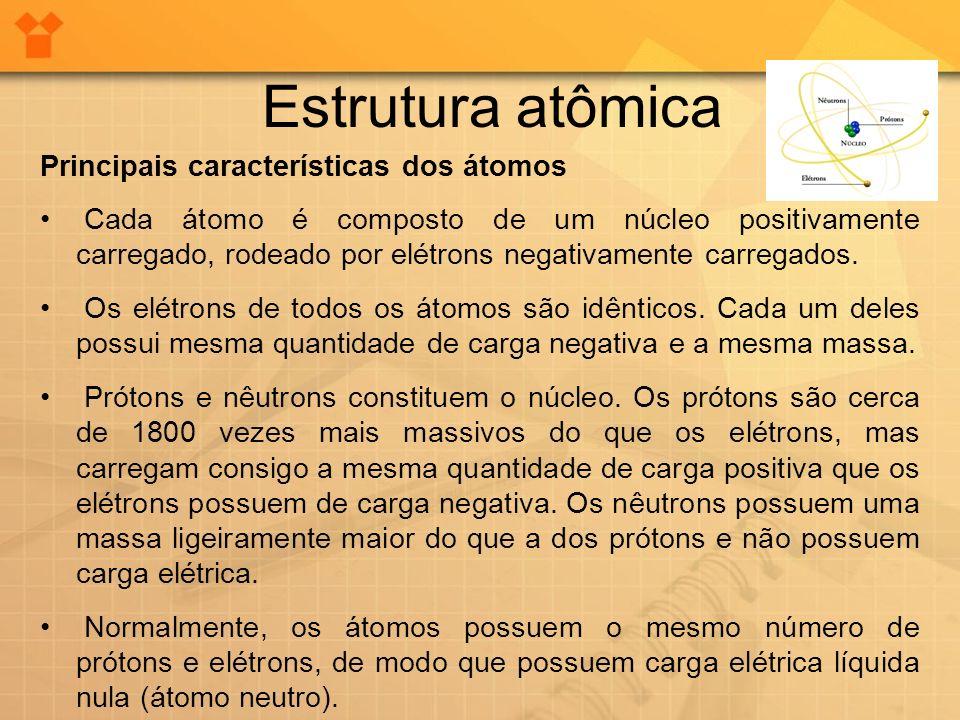 Estrutura atômica Principais características dos átomos Cada átomo é composto de um núcleo positivamente carregado, rodeado por elétrons negativamente