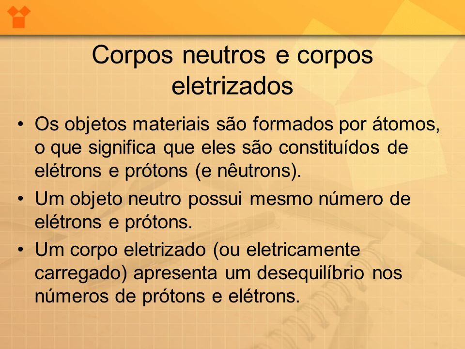Corpos neutros e corpos eletrizados Os objetos materiais são formados por átomos, o que significa que eles são constituídos de elétrons e prótons (e n