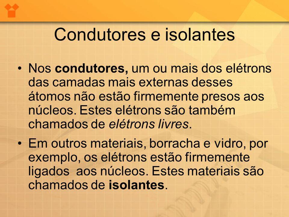 Nos condutores, um ou mais dos elétrons das camadas mais externas desses átomos não estão firmemente presos aos núcleos. Estes elétrons são também cha