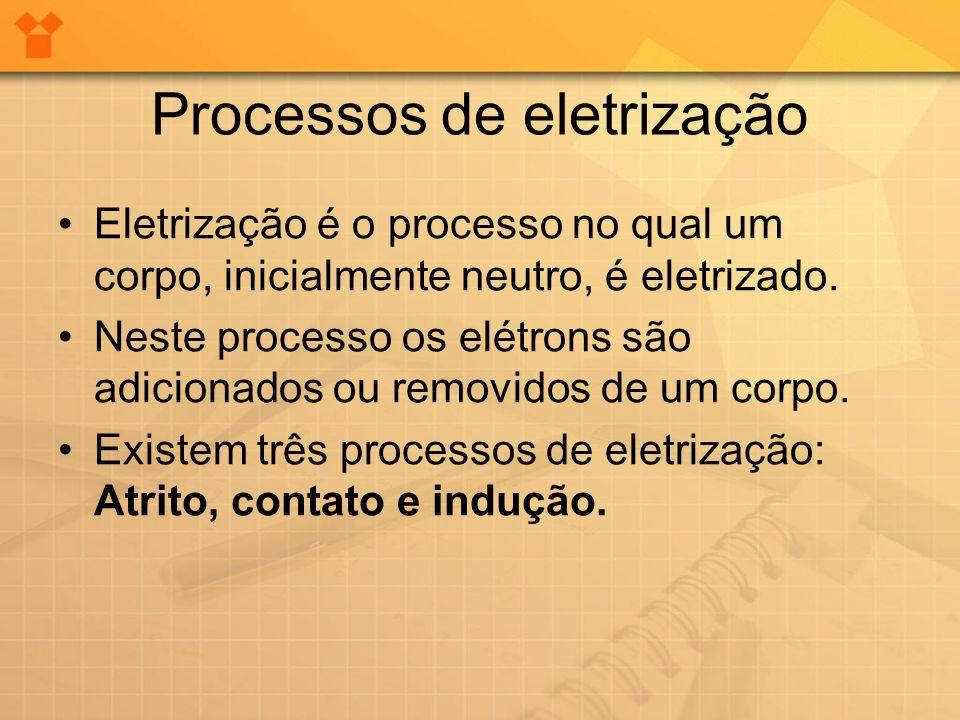 Processos de eletrização Eletrização é o processo no qual um corpo, inicialmente neutro, é eletrizado. Neste processo os elétrons são adicionados ou r
