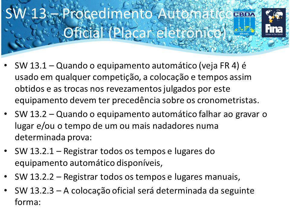 SW 13 – Procedimento Automático Oficial (Placar eletrônico) SW 13.2.3.1 – Um nadador com tempo e lugar dado pelo equipamento automático deve manter sua ordem relativa quando comparado com os outros nadadores, tendo um tempo e lugar no equipamento automático dentro desta mesma prova.