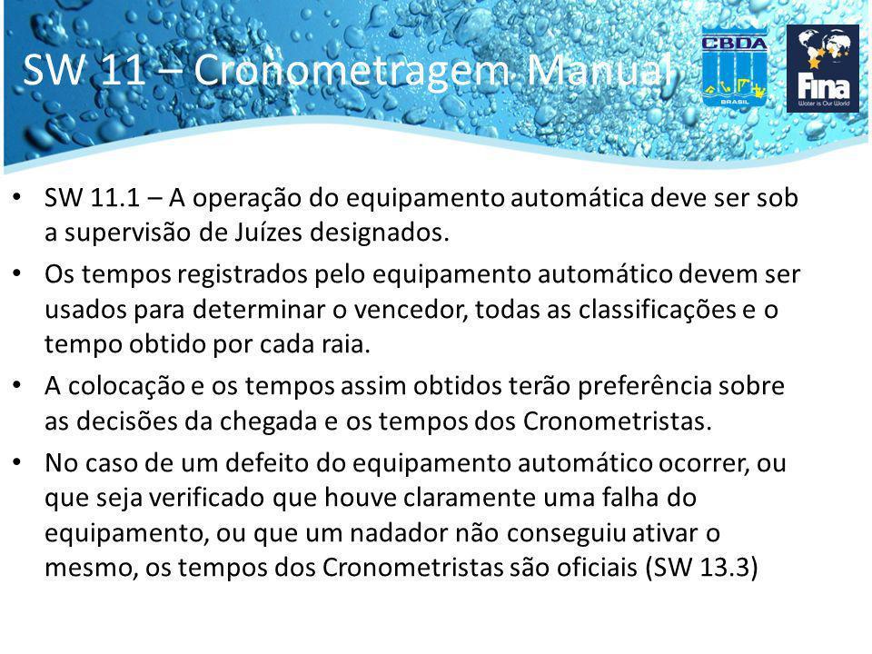 SW 11 – Cronometragem Manual SW 11.1 – A operação do equipamento automática deve ser sob a supervisão de Juízes designados. Os tempos registrados pelo