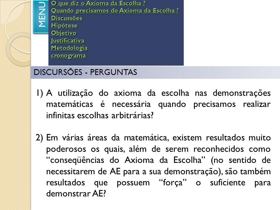 HIPÓTESE MENU Se descartarmos o Axioma da Escolha por completo do sistema axiomático proposto por Zermelo para a teoria dos conjuntos não continuaria consolidada e convalidada a teoria dos conjuntos.