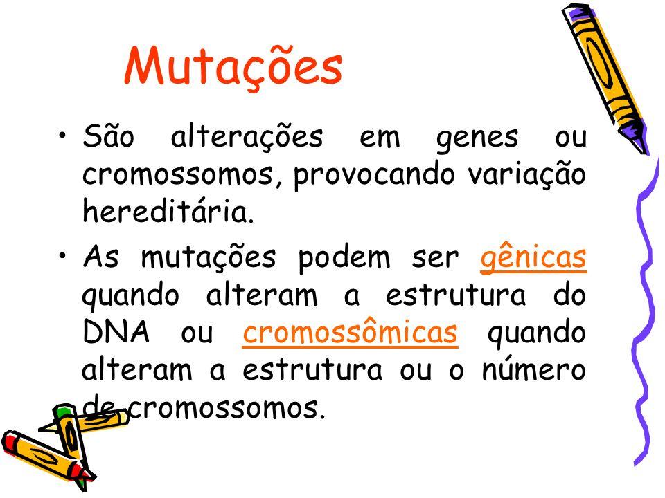 Mutações São alterações em genes ou cromossomos, provocando variação hereditária. As mutações podem ser gênicas quando alteram a estrutura do DNA ou c