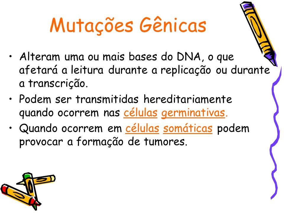 Mutações Gênicas Alteram uma ou mais bases do DNA, o que afetará a leitura durante a replicação ou durante a transcrição. Podem ser transmitidas hered