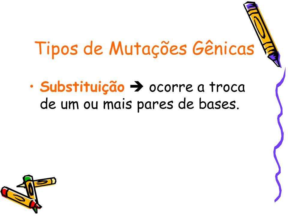 Tipos de Mutações Gênicas Substituição ocorre a troca de um ou mais pares de bases.